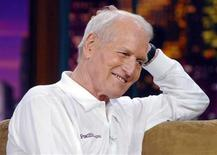 """<p>Paul Newman is all smiles during an appearance on """"The Tonight Show,"""" hosted by Jay Leno at NBC Studios in Burbank, California, April 8, 2005. REUTERS/Jim Ruymen</p>"""