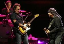<p>Bruce Springsteen (L) and Steve Van Zandt (R) with the E Street Band, including drummer Max Weinberg (rear), perform at Veterans Park in celebration of the 105th anniversary of Harley-Davidson motorcycles in Milwaukee, Wisconsin in this file photo from August 30, 2008. REUTERS/Allen Fredrickson</p>