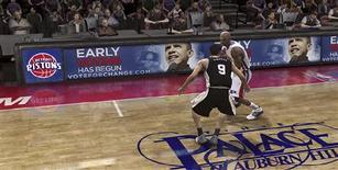 """<p>Capture d'écran de version en ligne de la simulation de basket-ball """"NBA Live 08"""" sur Xbox 360, pour laquelle l'équipe de Barack Obama a acquis des encarts publicitaires. Après la télévision et internet, la campagne du candidat démocrate à la Maison blanche investit désormais les jeux vidéo, une première dans l'histoire politique américaine. /Image publiée le 15 octobre 2008/REUTERS/HO</p>"""