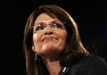 <p>Foto de archivo de la candidata republicana a la vicepresidencia de Estados Unidos, Sarah Palin, en Bethlehem, Pensilvania, 8 oct 2008. REUTERS/Carlos Barria/ Files (UNITED STATES)</p>