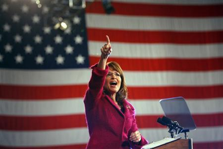 Republican vice-presidential nominee Alaska Governor Sarah Palin speaks at a campaign rally with Republican presidential nominee Senator John McCain in Hershey, Pennsylvania October 28, 2008. REUTERS/Brian Snyder