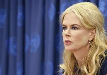 <p>Actress Nicole Kidman speaks during a news conference at the United Nations Headquarters in New York in this April 22, 2008 file photo. REUTERS/Brendan McDermid</p>