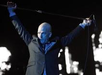 <p>Michael Stipe of R.E.M. performs during Budapest's Sziget Music Festival on an island on the Danube River August 16, 2008. REUTERS/Karoly Arvai</p>