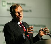 <p>TD Bank president and chief executive officer Ed Clark addresses shareholders at the company's annual general meeting in Calgary, Alberta April 3, 2008. REUTERS/Todd Korol</p>