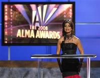 """<p>Paula Abdul speaks on stage during the taping of the 2008 """"NCLR Alma"""" awards at the Civic Auditorium in Pasadena, California, August 17, 2008. REUTERS/Mario Anzuoni</p>"""
