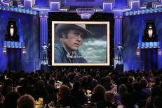 <p>Heath Ledger is shown on a screen during a memorial to the late actor at the 14th annual Screen Actors Guild Awards in Los Angeles, January 27, 2008. REUTERS/Danny Moloshok</p>