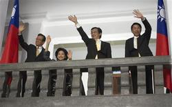 """<p>An undated handout picture shows actor Shen Meng-sheng (2nd R) as President Xiong in a scene from the film """"Ballistic"""". As Taiwan ex-president Chen Shui-bian waits behind bars for a graft trial after losing an appeal for release, a film about his controversial election eve shooting will debut on the island this week. The Hong Kong action movie """"Ballistic"""" uses a fictional plot to revisit March 19, 2004, when incumbent Chen and his running mate Annette Lu were shot and slightly injured during a campaign rally in southern Taiwan. They won the race a day later. REUTERS/Deepjoy Picture/Handout</p>"""