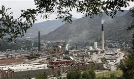 <p>The Teck Cominco smelter plant sits overlooking the small city of Trail in southern British Columbia in this July 6, 2006 file photo. The company will cut about 1,400 jobs, or 13 percent of its staff, as part of its plan to clip costs and keep competitive as commodity prices remain weak, the Canadian mining company said on Thursday. REUTERS/Andy Clark</p>
