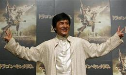 """<p>Hong Kong actor Jackie Chan poses during a news conference for his movie """"The Forbidden Kingdom"""" in Tokyo, July 10, 2008. REUTERS/Toru Hanai</p>"""