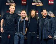 <p>Metallica, the heavy metal band, poses for pictures after the Rock and Roll Hall of Fame announced their 2009 inductees in New York January 14, 2009. Pictured are (L to R) vocalist James Hetfeild, drummer Lars Ulrich, guitarist Kirk Hammett and bass player Robert Trujillo. They will join other 2009 performer inductees Jeff Beck, Little Anthony & the Imperials, Run-D.M.C. and Bobby Womack. REUTERS/Ray Stubblebine</p>