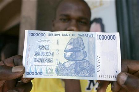 A Black Market Foreign Currency Dealer Displays The 1 Million Banknote Worth 7 On Streets Of Harare October 6 2008 Reuters Philimon Bulawayo
