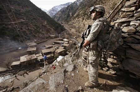 A soldier with the US Army's 6-4 Cavalry watches the surrounding hills during a patrol near Combat Outpost Keating in eastern Afghanistan January 21, 2009. REUTERS/Bob Strong