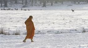 <p>A monk walks through the snow covered Richmond Park in London February 3, 2009. REUTERS/Stephen Hird</p>