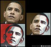<p>Il ritratto di Obama realizzato dall'artista Sheperd Fairey partendo da una foto REUTERS/Michael Cramer</p>