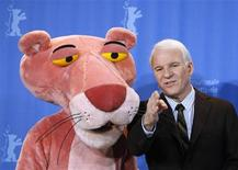 """<p>Actor Steve Martin poses with a person wearing a pink panther costume during a photocall to promote the movie """"Pink Panther 2"""" at the 59th Berlinale film festival in Berlin, February 13, 2009. REUTERS/Johannes Eisele</p>"""