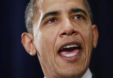 <p>Presidento dos EUA, Barack Obama, durante cerimônia com veteranos de guerra em Washington. 16/03/2009. REUTERS/Jason Reed</p>
