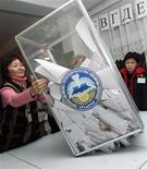 <p>Работница избирательного участка высыпает бюллетени на стол для подсчета голосов в Бишкеке 16 декабря 2007 года. Конституционный суд Киргизии в четверг поставил точку в споре о времени очередных президентских выборов, обязав провести их в октябре. REUTERS/Vladimir Pirogov</p>