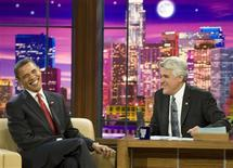 "<p>President Barack Obama (L) laughs as he speaks to host Jay Leno on the NBC late night comedy show ""The Tonight Show with Jay Leno"" in Burbank, California March 19, 2009. REUTERS/Larry Downing</p>"