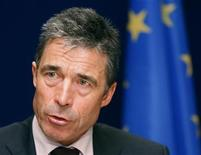 """<p>Denmark's Prime Minister Anders Fogh Rasmussen holds a news conference after an emergency European Union leaders summit in Brussels March 1, 2009. European Union leaders rejected protectionism on Sunday to prevent a new """"iron curtain"""" dividing the 27-nation bloc into rich and poor halves during the global economic crisis. REUTERS/Yves Herman</p>"""
