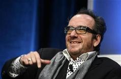 """<p>Singer and songwriter Elvis Costello gestures as he discusses his new program """"Spectacle: Elvis Costello with..."""" during the Sundance Channel's panel presentation at the Television Critics Association summer press tour in Beverly Hills,California July 10, 2008. REUTERS/ Fred Prouser</p>"""
