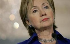 <p>Secretary of State Hillary Clinton listens to a question from a reporter in Washington March 16, 2009. REUTERS/Molly Riley</p>
