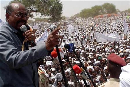 PSudans President Omar Hassan Al Bashir Addresses His Supporters During A Rally Against The International Criminal Court ICC Arrest Warrant For