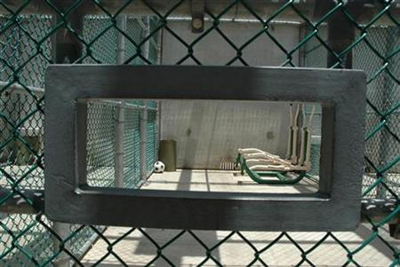 The Exercise yard at Camp 6, a maximum security facility, is pictured at the Camp Delta detention center for terrorism suspects at Guantanamo Bay in Cuba July 23, 2008. REUTERS/Randall Mikkelsen