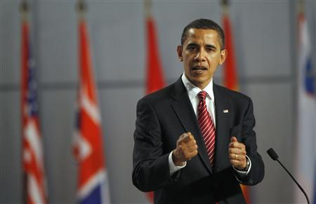 President Barack Obama addresses a news conference at the NATO summit in Strasbourg, April 4, 2009. REUTERS/Jason Reed