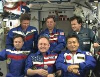 <p>I membri della spedizione spaziale REUTERS/NASA TV</p>