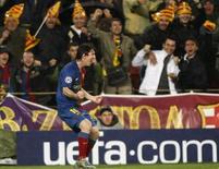 <p>Messi, do Barcelona, comemora gol após vitória de 4 x 0 sobre o Bayern pela Liga dos Campeões nesta quarta-feira. REUTERS/Albert Gea</p>