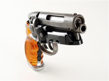 The blaster gun that actor Harrison Ford carried in the movie ''Blade Runner'' is shown in this undated publicity photo released to Reuters April 9, 2009. The gun, used to hunt down and kill futuristic humanoids in 1982 sci-fi film ''Blade Runner'', will be put on the auction block in an upcoming sale of Hollywood memorabilia. Picture taken April 9, 2009. REUTERS/Profiles in History/Handout