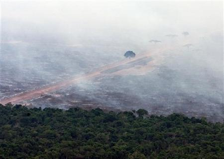 Virgin Amazon jungle is burned to clear land for cattle pasture, on a private ranch near the Jarina Indian reserve October 1, 2006. REUTERS/Jamil Bittar