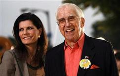 """<p>Ed McMahon and his wife Pamela attend the premiere of """"The Simpsons Movie"""" at the Mann Village theatre in Westwood, California July 24, 2007. REUTERS/Mario Anzuoni</p>"""