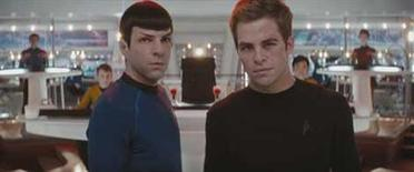 """<p>Spock (Zachary Quinto, left) and James T. Kirk (Chris Pine, right) in a scene from the new """"Star Trek"""" film. REUTERS/Paramount Pictures/Handout</p>"""