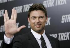 """<p>Cast member Karl Urban gestures at the premiere of the movie """"Star Trek"""" at the Grauman's Chinese theatre in Hollywood, California April 30, 2009. REUTERS/Mario Anzuoni</p>"""