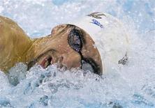 <p>Michael Phelps compete na eliminatória dos 200 metros livre em Charlotte, nos Estados Unidos. 15/05/2009. REUTERS/Chris Keane</p>