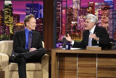 """<p>""""The Tonight Show with Jay Leno"""" host Jay Leno (R) interviews Conan O'Brien, during Leno's final show in Burbank, California, May 29, 2009. REUTERS/Paul Drinkwater/NBCU Photo Bank/Handout</p>"""