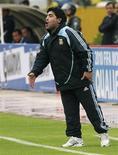 <p>Técnico da seleção argentina, Diego Maradona, em Quito. 10/06/2009. REUTERS/Teddy Garcia</p>