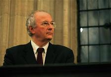 <p>British author Philip Pullman prepares to deliver a speech on English poet John Milton at the opening of The Citizen Milton Exhibition at the Bodleian Library in Oxford, southeast England December 7, 2007. REUTERS/Dylan Martinez</p>