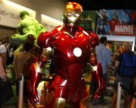 <p>Modelo de Homem de Ferro em tamanho natural exposto no estande da Marvel na 39a Comic Con. O Homem de Ferro ganhou os holofotes na convenção de quadrinhos deste ano, fascinando fãs não só de histórias em quadrinhos e filmes mas também de videogames.</p>