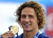 <p>Ryan Lochte garantiu uma dobradinha norte-americana nos 400 metros medley individuais no domingo, obtendo ouro duplo no campeonato mundial de Roma. REUTERS/Wolfgang Rattay</p>