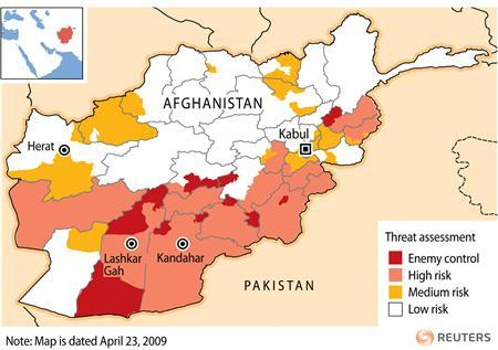 Government map shows dire Afghan security picture