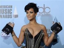 <p>Rihanna poses with her awards for favorite female artist in the pop/rock and the soul/R&B categories at the 2008 American Music Awards in Los Angeles November 23, 2008. REUTERS/Phil McCarten</p>
