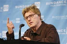 <p>Festival founder Robert Redford speaks to the media on stage at the Egyptian Theatre prior to the opening night of the 2009 Sundance Film Festival in Park City, Utah January 15, 2009. REUTERS/Danny Moloshok</p>
