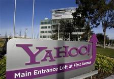 <p>Foto de archivo de la entrada a la compañía Yahoo! en Sunnyvale, EEUU, 1 feb 2008. Microsoft Corp y Yahoo! Inc se están uniendo a un grupo que se opone a un arreglo colectivo con Google, que le da al líder de búsquedas por internet el derecho de digitalizar millones de libros, dijeron el viernes las empresas de tecnología. REUTERS/Kimberly White</p>