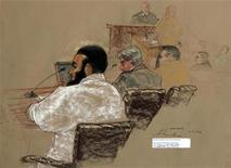<p>Canadian defendant Omar Khadr (L) sits with his defense team during a hearing inside the courthouse for the U.S. military war crimes commission at the Camp Justice compound at Guantanamo Bay U.S. Naval Base, Cuba, July 15, 2009, in this photo of a sketch by courtroom artist Janet Hamlin which was reviewed by the U.S. military. REUTERS/Janet Hamlin/Pool</p>