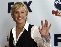 """<p>Ellen DeGeneres gestures before the """"Idol Gives Back"""" show at the Walt Disney Concert Hall in Los Angeles, April 25, 2007. REUTERS/Mario Anzuoni</p>"""