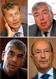 <p>Réunis cette semaine à Paris lors d'un forum Small & MidCaps organisé par Reuters, François Enaud, P-DG de Steria, Vincent Rouaix, P-DG de GFI Informatique, Bruno Benoliel, directeur financier d'Alten, et Pierre Pasquier, P-DG de Sopra (de gauche à droite et de haut en bas). Selon plusieurs patrons du secteur interrogés par Reuters, les difficultés provoquées par la crise chez certaines sociétés de services et d'ingénierie informatiques (SSII) pourraient déclencher à partir du début 2010 un mouvement de consolidation dans un secteur encore très fragmenté. /Photos prises les 16, 15 et 14 septembre 2009/REUTERS/John Schults et Charles Platiau</p>
