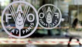<p>Il logo della Fao all'ingresso del quartier generale di Roma. REUTERS/Alessandro Bianchi</p>
