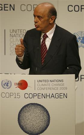 Jose Serra, governor of Brazil's state of Sao Paulo, speaks during the Copenhagen Climate Change Conference 2009 in Copenhagen in this December 15, 2009 file photo. REUTERS/Bob Strong